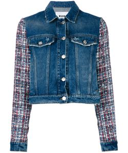 MSGM   Embroide Sleeves Denim Jacket 38 Cotton/Viscose/Wool/Polyester