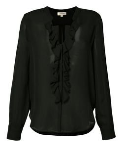 L'Agence | Sheer Ruffle Front Blouse