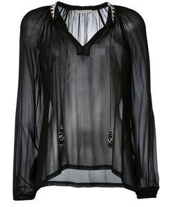 Amen | Sheer Open Neck Blouse Womens Size 42 Viscose/Glass/Metal