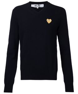 Comme Des Garcons | Embroidered Logo V-Neck Sweater