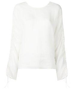 Isabel Benenato | Drawstring Sleeves Sheer Blouse 46