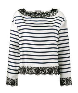 Dolce & Gabbana   Lace-Trimmed Striped Blouse 40 Silk