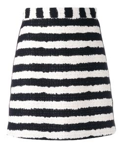 MSGM | Bouclé Stripe Skirt 42 Cotton/Viscose/Linen/Flax/Polyester