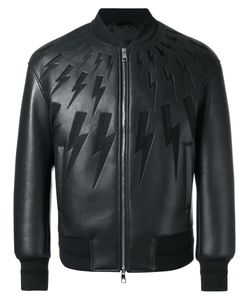 Neil Barrett | Lightning Bolt Bomber Jacket Small Polyurethane/Viscose/Polyester/Cotton