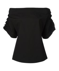 MSGM | Ruffled Shortsleeved Blouse 40 Cotton/Spandex/Elastane/Polyurethane