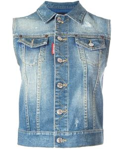 Dsquared2 | Microstudded Sleeveless Denim Jacket 38 Cotton/Spandex/Elastane/Aluminium