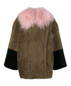 Saks Potts | Colour Block Shearling Coat With Tibetan Lamb Collar