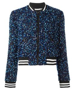 Alice + Olivia   Sequin Embroidery Cropped Bomber Jacket Small Polyester/Spandex/Elastane/Silk