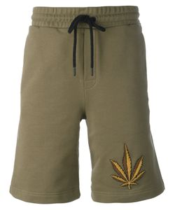 PALM ANGELS | Weed Emblem Shorts Large Cotton/Metal Other