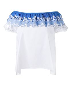 Peter Pilotto | Embroide Off Shoulder Top 14 Cotton/Polyamide/Spandex/Elastane