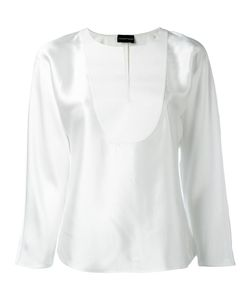Emporio Armani | Contrast Bib Blouse 40 Cotton/Polyester/Polyamide/Mulberry Silk