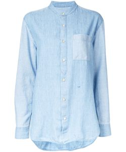 Closed | Mandarin Neck Denim Shirt Large Cotton/Lyocell/Linen/Flax