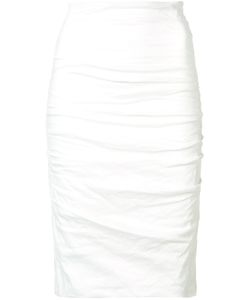 Nicole Miller | Ruched Pencil Skirt 6 Cotton/Nylon/Spandex/Elastane Fibre