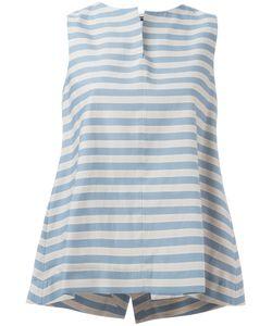 Jil Sander Navy | Sleeveless A-Line Blouse 36 Cotton/Polyester