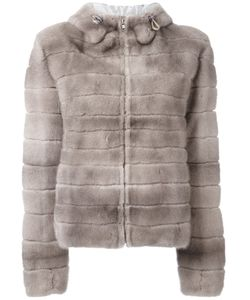 Liska | Hooded Coat Large Mink Fur/Viscose/Suede