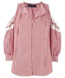 ROSSELLA JARDINI   Cold-Shoulder Striped Shirt 42 Cotton