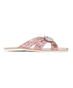 Carshoe   Car Shoe Glitter Embellished Sandals 39 Calf Leather/Pvc/Leather/Glass