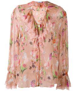 Blumarine | Блузка С Цветочным Рисунком И Оборчатым Воротником