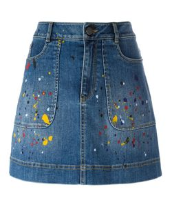Alice + Olivia | Splatter Print Denim Skirt 25 Spandex/Elastane/Cotton