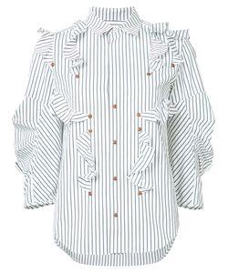 Toga | Striped Ruffle Blouse Size