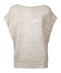 Fay | Open Knit Cap Sleeve Top Size Small
