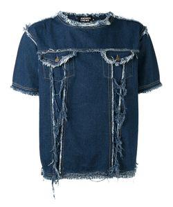Andrea Crews   Frayed Denim T-Shirt Small