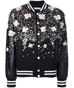 Night Market | Embellished Bomber Jacket Medium Polyester/Cotton/Leather