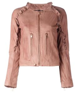 Diesel | Ruffle Trim Leather Jacket Small Lamb Skin/Cotton/Acetate