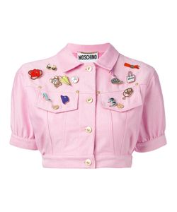 MOSCHINO VINTAGE | Cropped Denim Badge Jacket Cotton/Polyester/Other