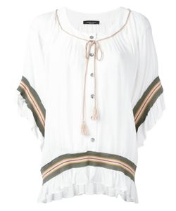 Roberto Collina   Striped Embroidered Blouse Size Small