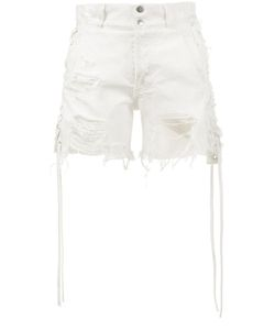 Faith Connexion | Distressed Shorts With Lace-Up Sides