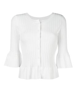 Twin-set | Ruffled Hem Fitted Cardigan Medium Viscose/Polyester