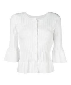 Twin-set | Ruffled Hem Fitted Cardigan Medium Viscose/Polyester