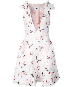 MINJUKIM | Расклешенное Платье С V-Образным Вырезом