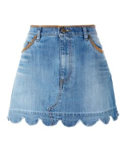 Red Valentino | Scallop Hem Denim Skirt 42 Cotton/Spandex/Elastane