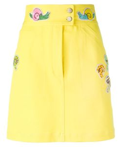 Olympia Le-Tan | Beaded Patch Fitted Skirt 38 Cotton