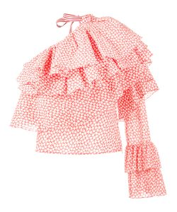 Rosie Assoulin   Printed Ruffle One-Shoulder Top