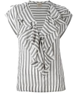 Nude | Striped Ruffle Neck Blouse Size 40