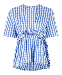 MSGM | Gingham Ruffle Blouse 44 Cotton