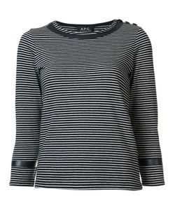 A.P.C. | Striped Three-Quarter Sleeve Top Small Cotton/Polyester/Polyimide