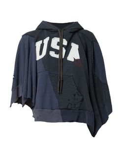 GREG LAUREN | Destroyed Asymmetric Hoodie 0 Cotton