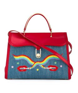 Olympia Le-Tan | Smoking Lips Embroide Marguerite Tote Calf Leather/Cotton