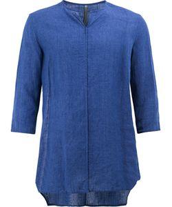 KAZUYUKI KUMAGAI   Collarless Cropped Sleeve Shirt Size 4