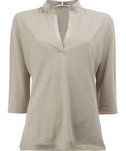 Lamberto Losani | V-Neck Cropped Sleeve Blouse Size Small
