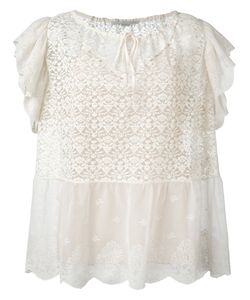 Stella Mccartney | Ruffled Short Sleeve Top 42 Silk/Cotton/Polyester
