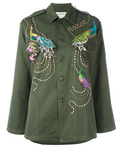 Night Market | Peacock Embroide Jacket Medium Cotton/Polyester/Metal/Glass