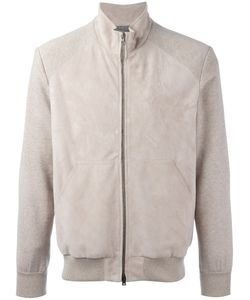 Herno | Panel Bomber Jacket 48 Calf Leather/Cotton/Viscose/Polyester