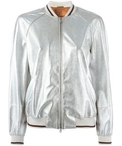 Brunello Cucinelli | Zip Up Bomber Jacket 46 Cotton/Leather