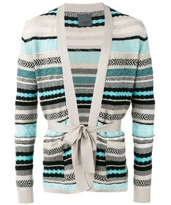 Laneus | Stripe Tie-Waist Cardigan 46 Cotton