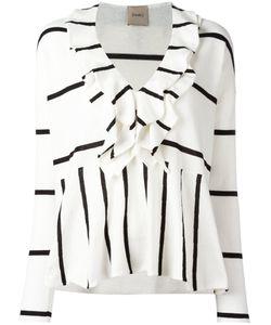 Nude | Stripe Ruffle Trim Top Size 40
